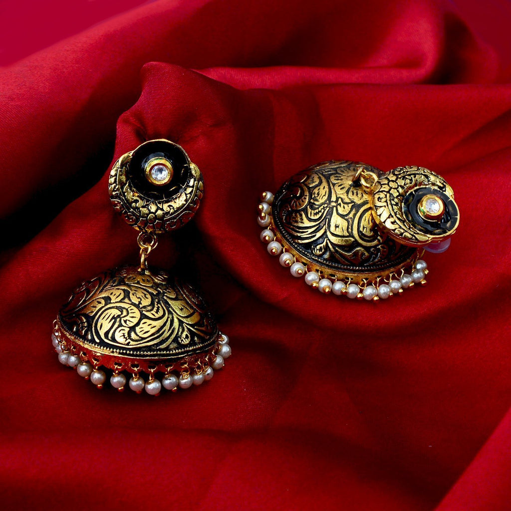 Antique Finish Meenakari Gold Plated Pink color Tokra Earring