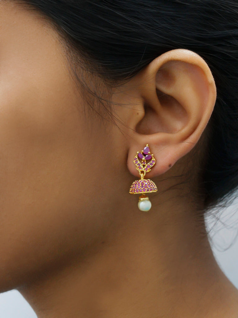 Ruby Red Color American Diamond Stones with Pearl dropping Stud Jhumka