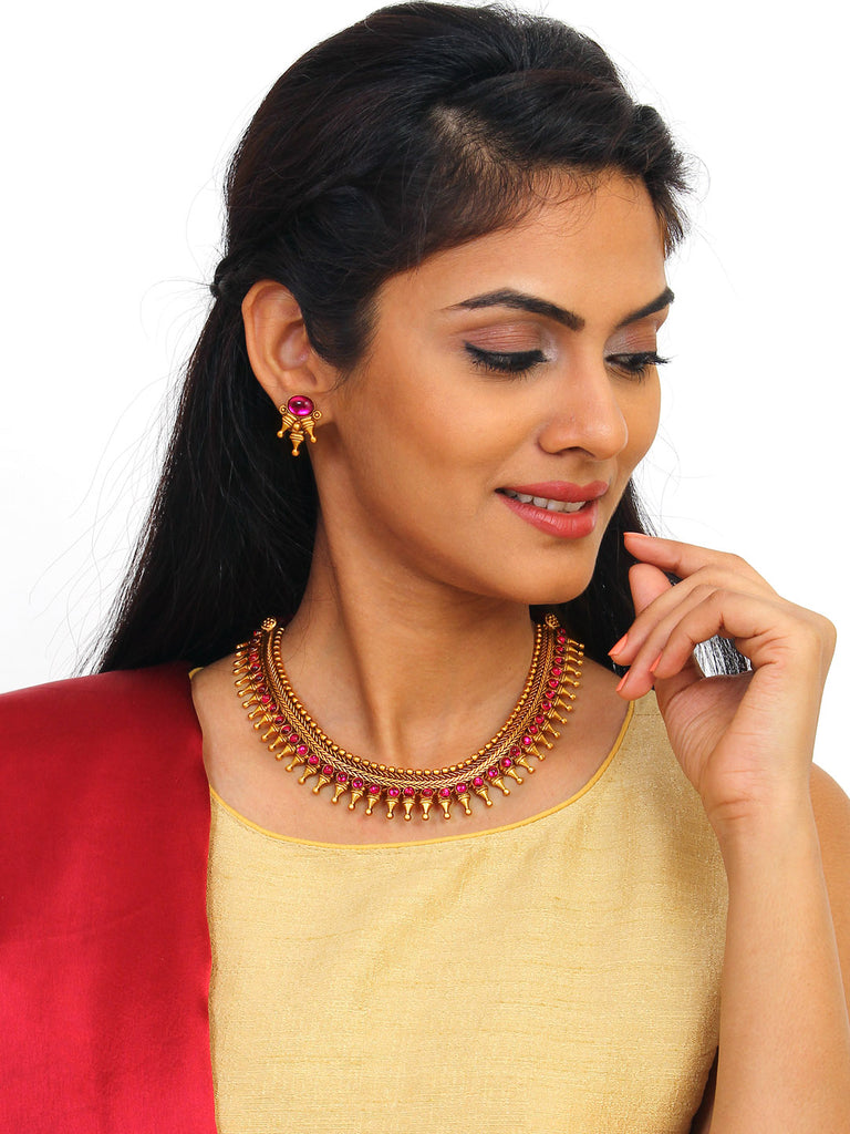 Avismaya Temple Jewellery Matt Gold Antique Finish With Red Plasto Stones Choker Necklace Set