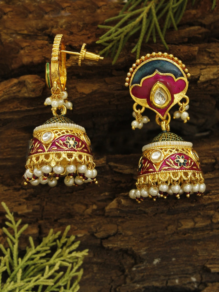 Avismaya Gold Plated Semi Circle Shape High Quality Meenakari Jhumka Earring