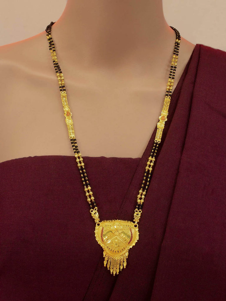 Avismaya Two layered Gold Plated Black color Beads Floral Design pendant Long necklace Mangalsutra