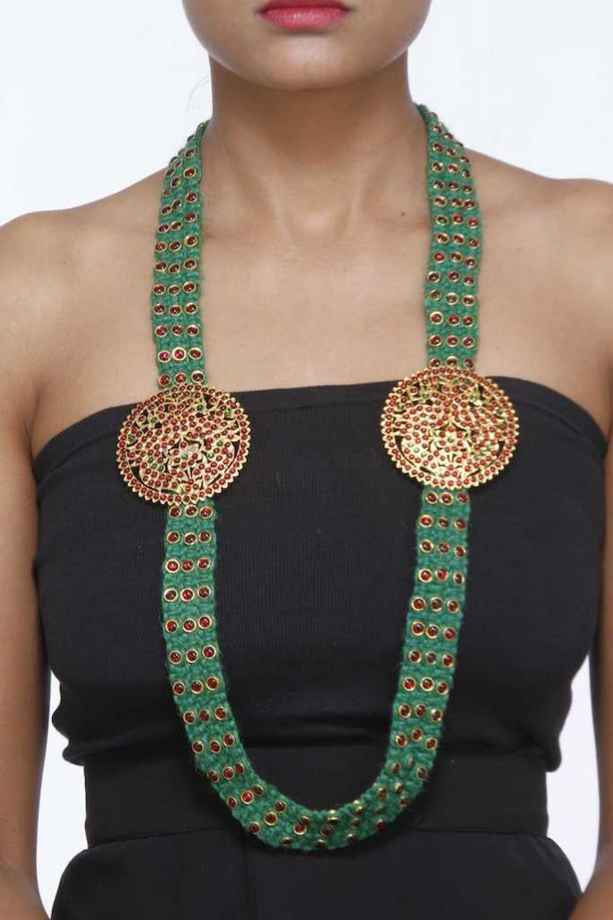 Moss Green Neckpiece With Red Stones