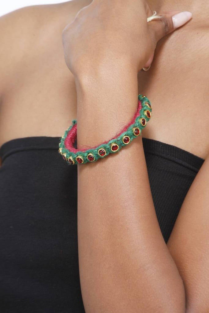 Pink And Green Kada With Wine Red Stones