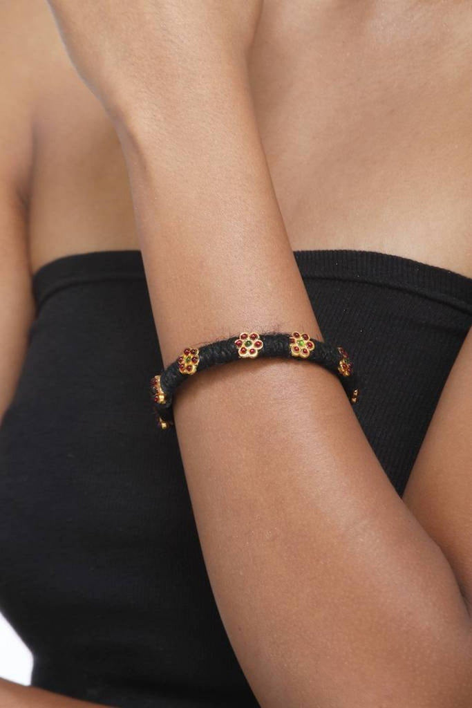 Black Kada With Temple Flower Motifs