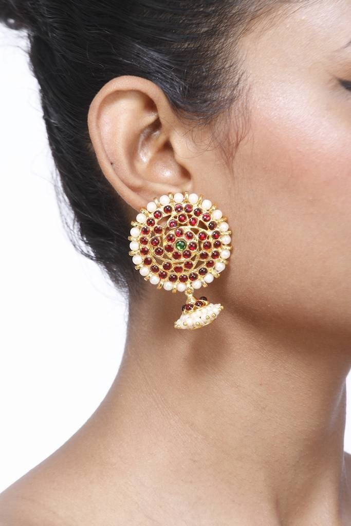 Full Moon Motif Earring With Jhumka