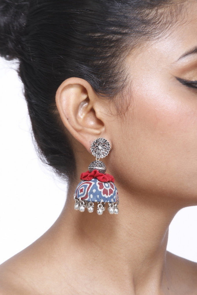 Printed Red And Blue Jhumka