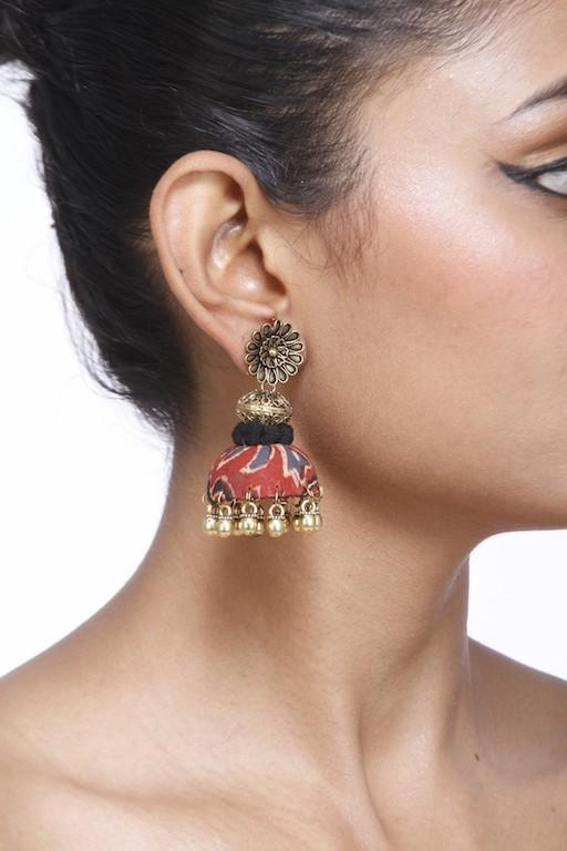 Red And Gold Jhumka