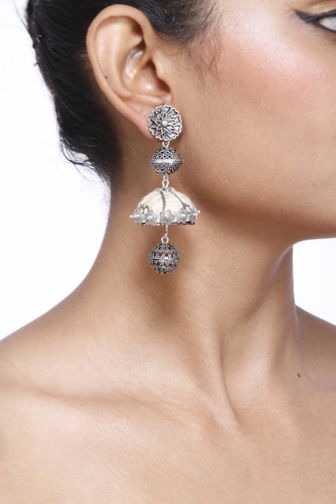 Silver And White Jhumka