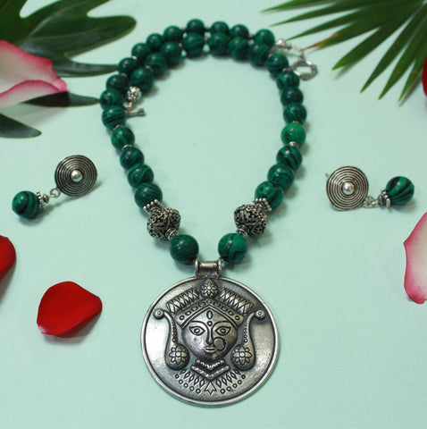 German Silver and Malachite Beads Combined Temple Jewelery Maa Durga Pendant