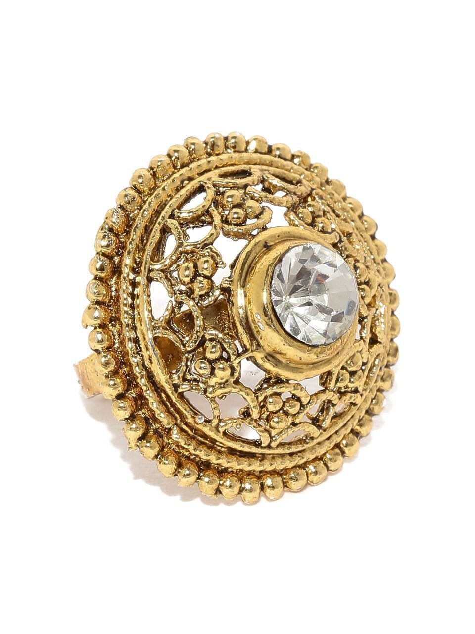 Limited Edition Ethnic Gold Look Finger Ring By Zaveri Pearls