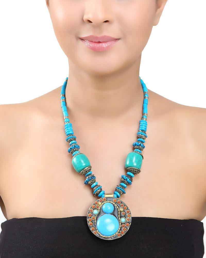 Blue Beaded Long Necklace