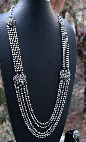 Mugappu Chain 5 Layered Oxidised German Silver Lakshmi Temple Necklace Set