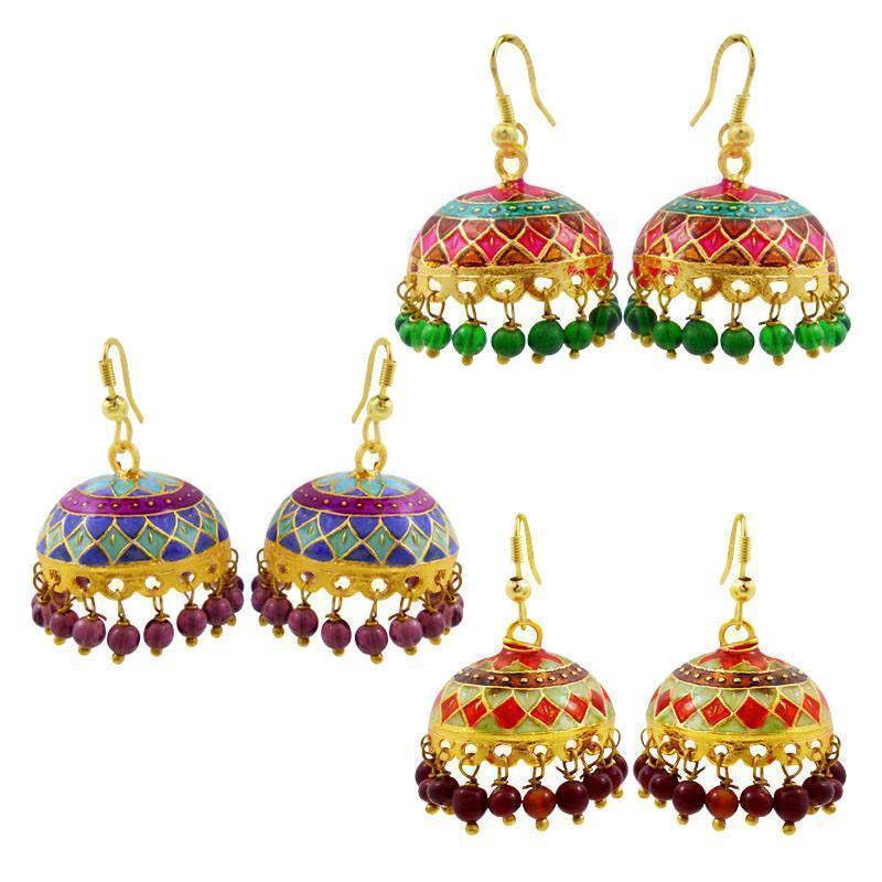 Exclusive Meenakari Tokri Jhumki Combo Of 3 Earrings