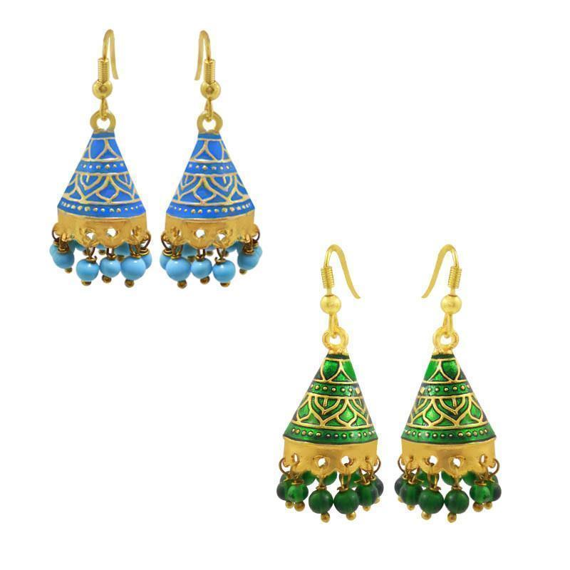Exclusive Meenakari Tokri Jhumki Combo Of 2 Earrings
