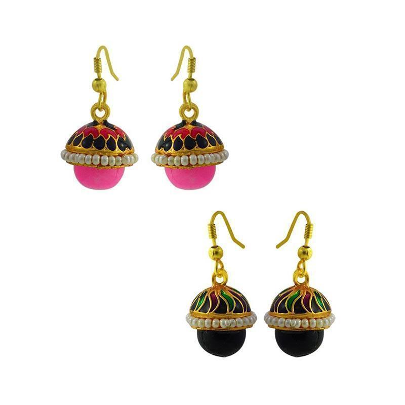 Designer Meenakari Combo Earrings