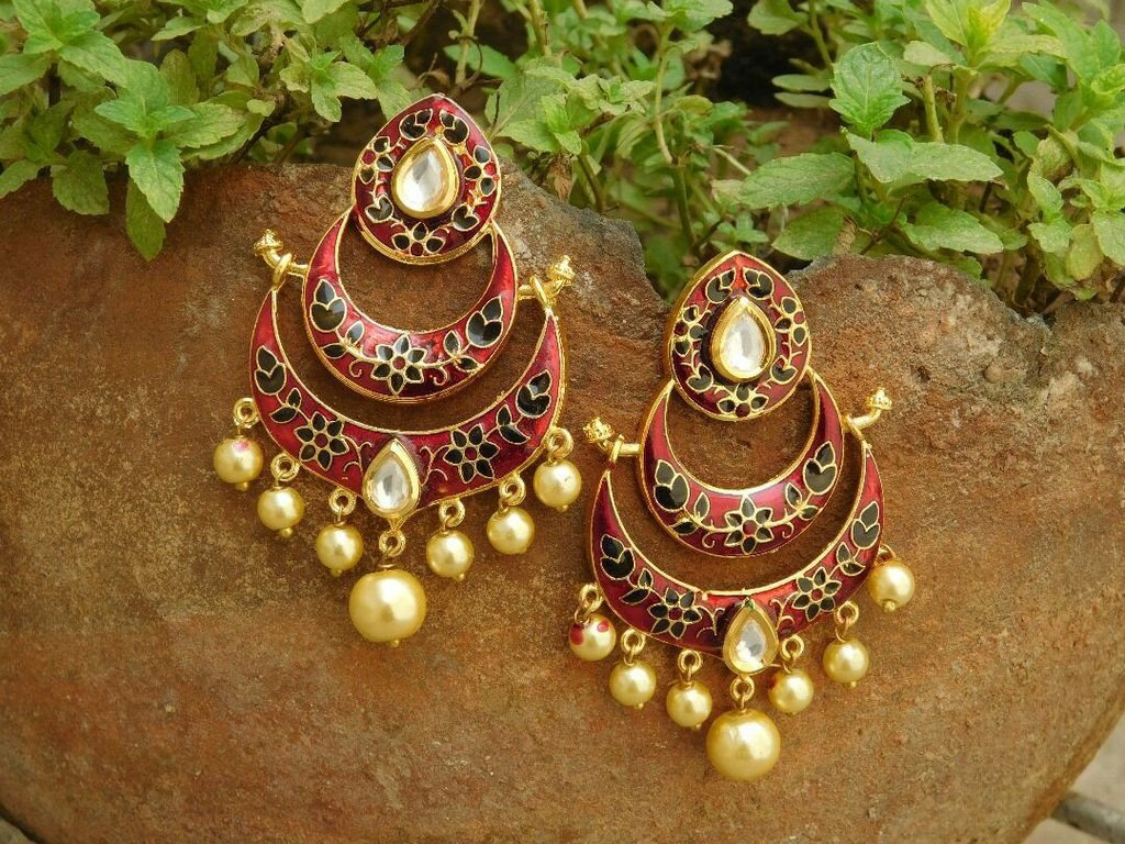 Multicolor Ramleela Pearl Droppings Earring