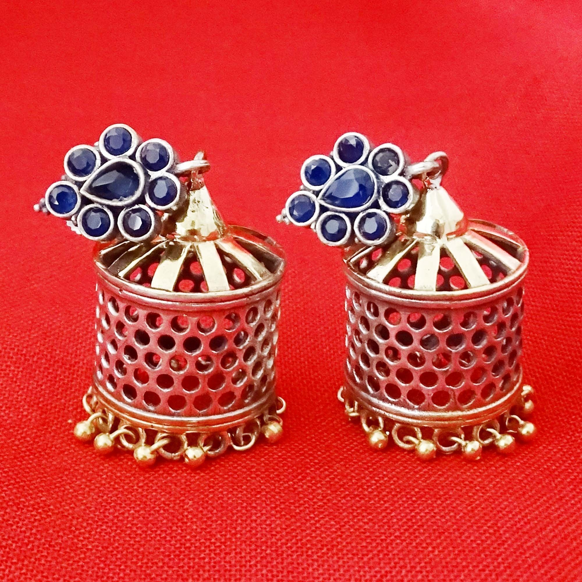Dual Tone Gold & Silver with Blue Color Stone Jhumka
