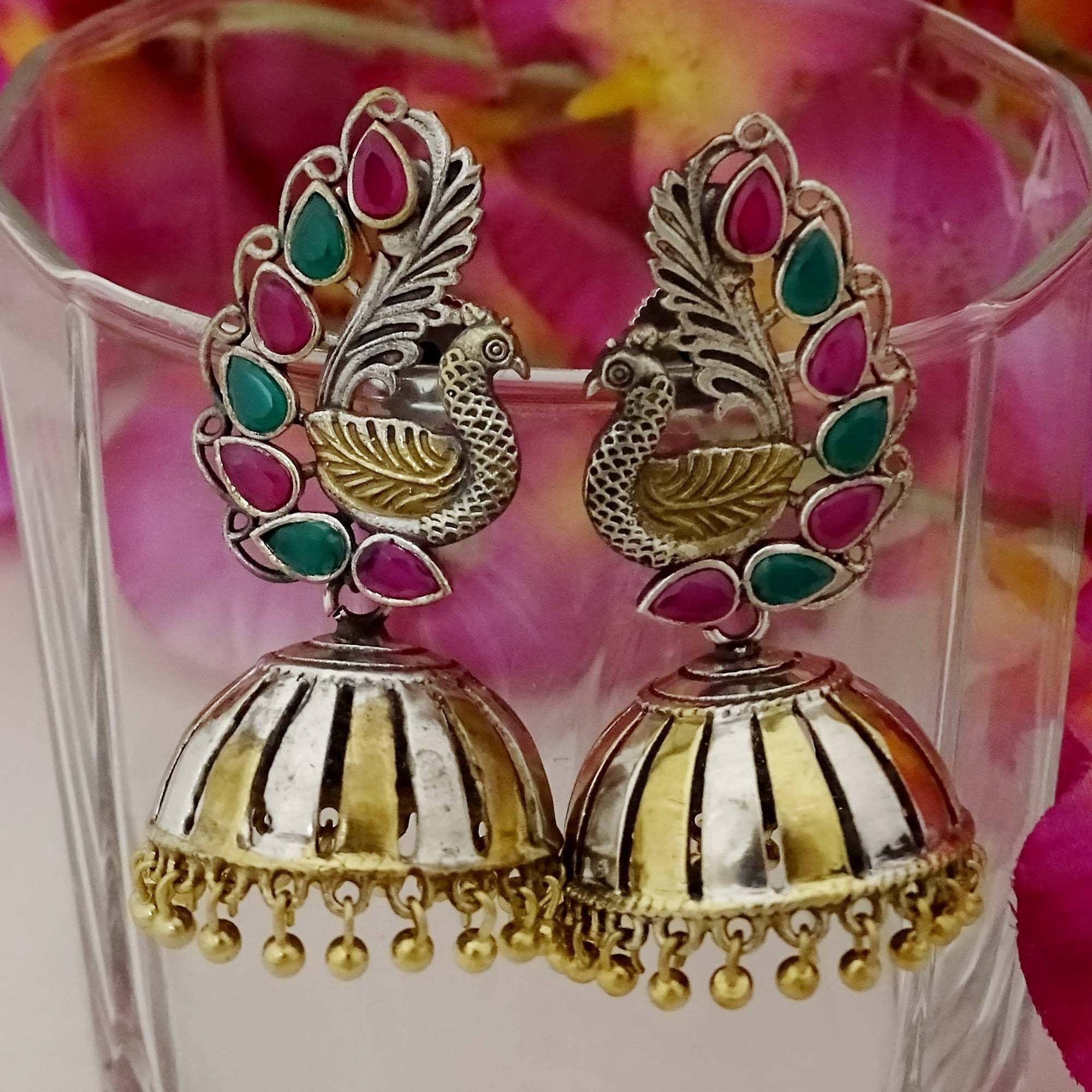 Dual Tone Gold & Silver with Green & Purple Color Stone Jhumka