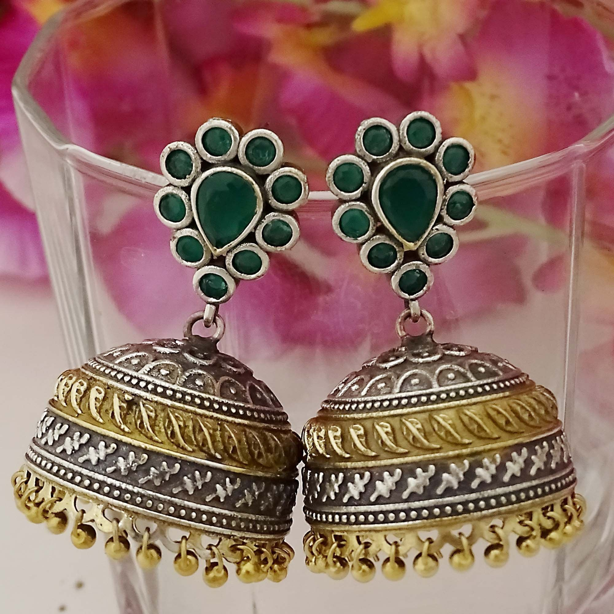 Dual Tone Gold & Silver with Green Color Stone Jhumka