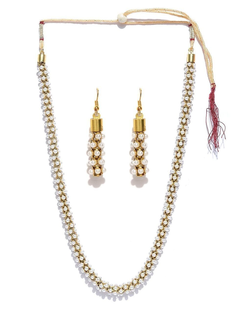 Zaveri Pearls South Indian Style Pearl Beads Necklace Set
