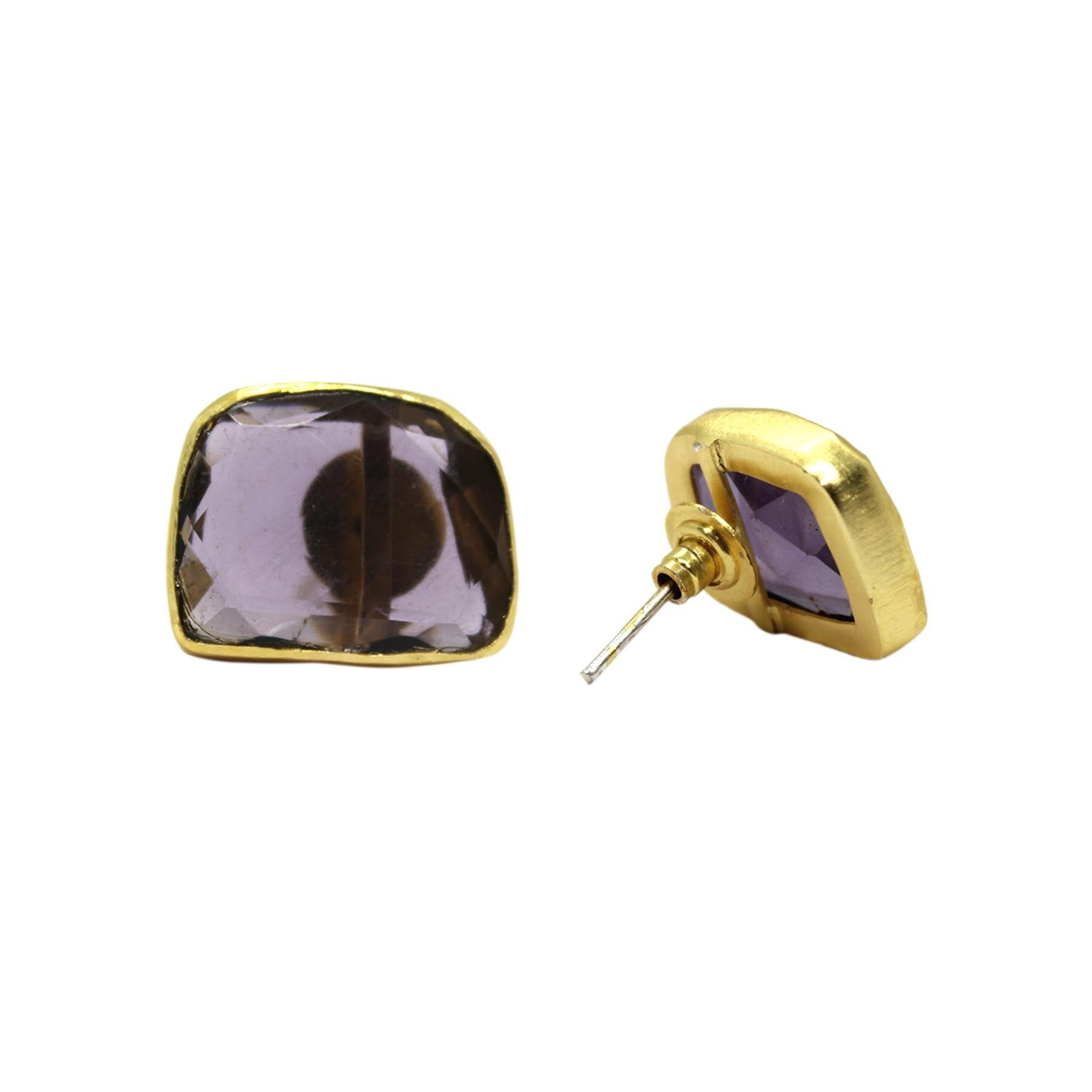 Stud Earring With A Amethyst Glass Stone