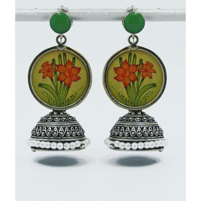 Miniature Jhumka Green Earring