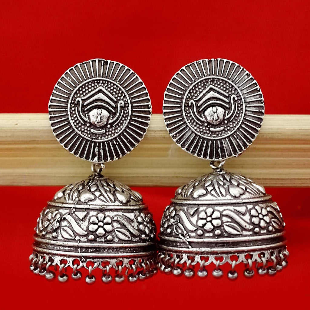 Oxidized Silver Ethnic Floral Design Jhumka