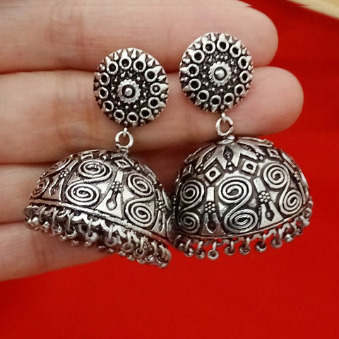 Oxidized Silver Ethnic Geometric Design Jhumka