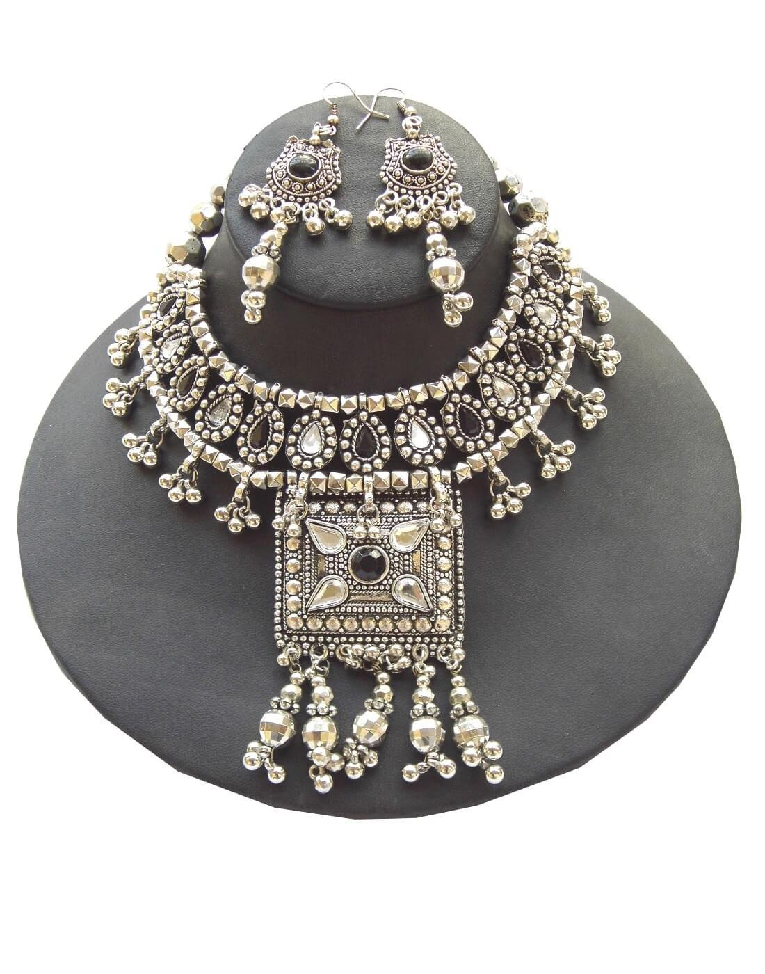 Oxidized Metal Navratri Jewellery Set With Square Pendant