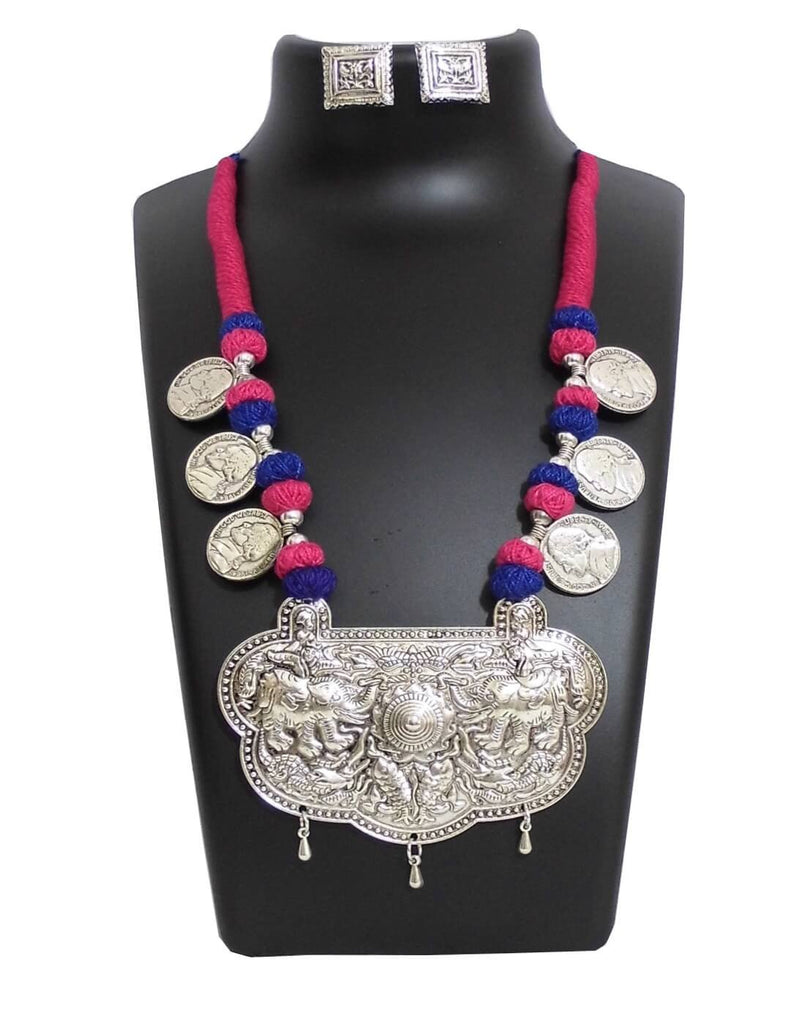 Threaded German Silver Necklace Set With Studs