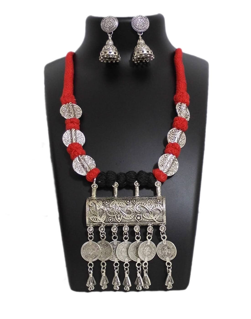 Threaded German Silver Necklace Set With Jhumkas