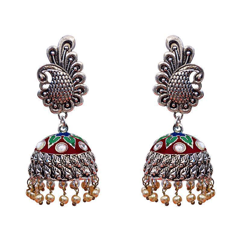 Antique Meenakari German Silver Plated Peacock Pendant Earring