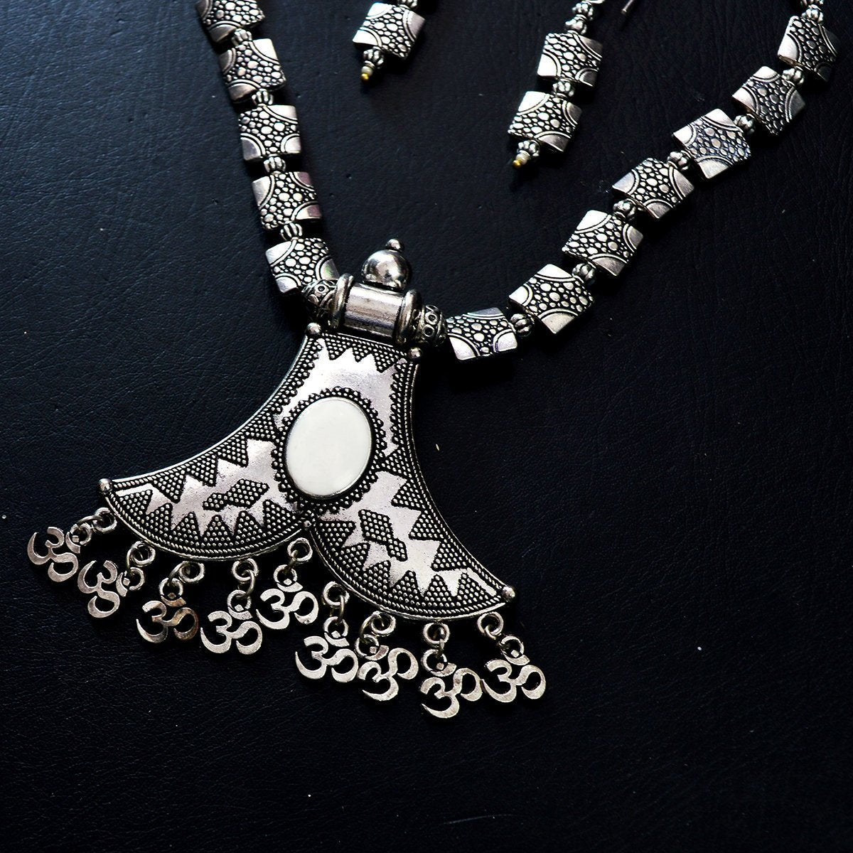 Oxidised German Silver Pendant Necklace Set