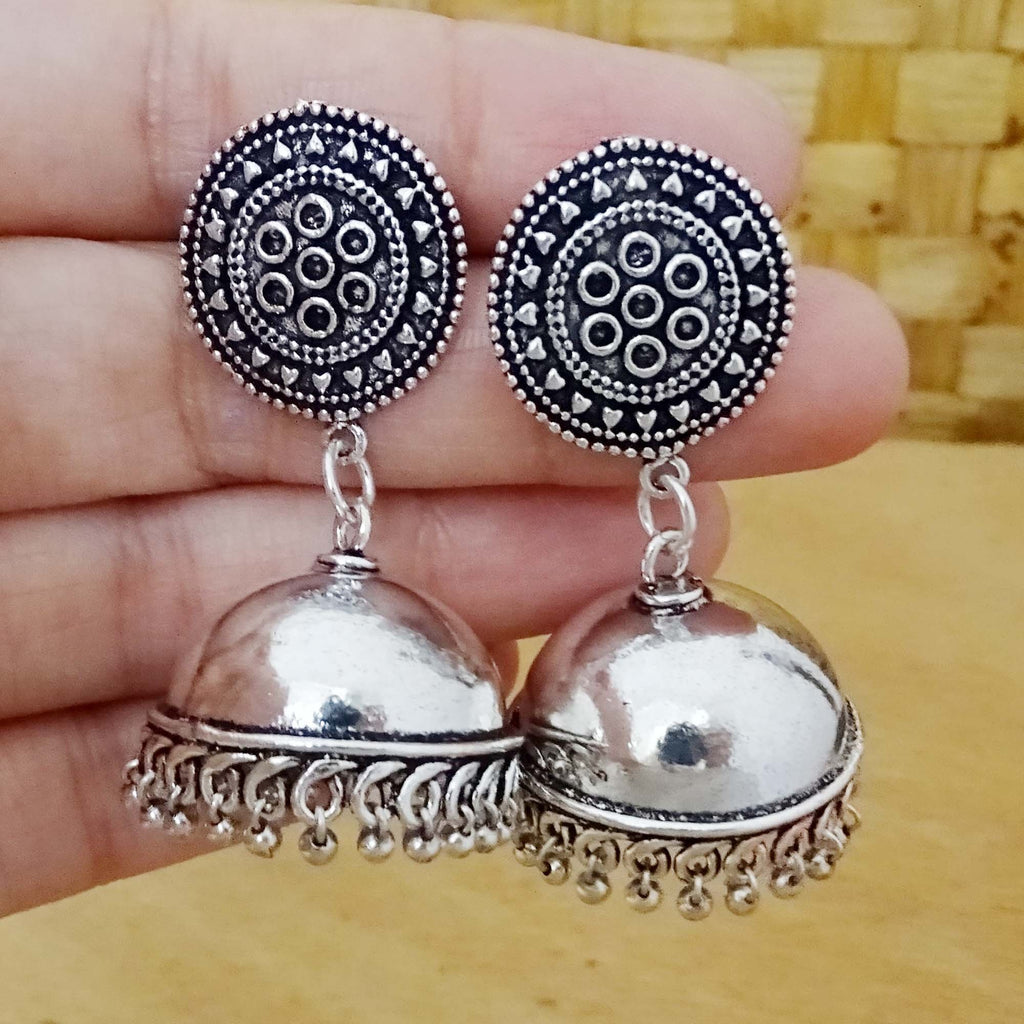 Silver Ethnic Jhumka Earrings