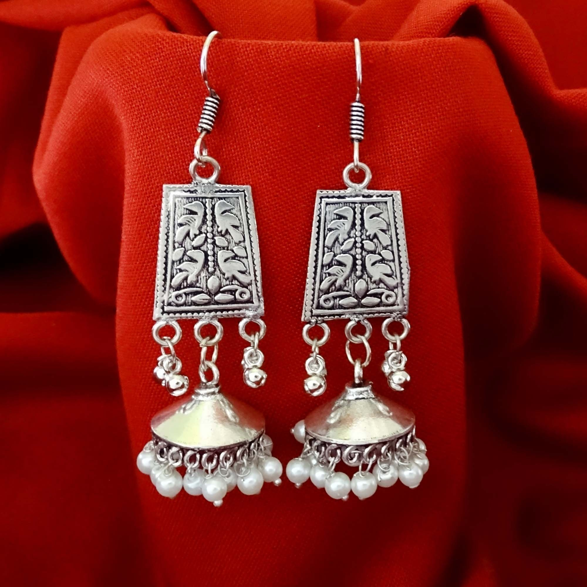 Oxidized Silver Ethnic Pearl Jhumka Earrings