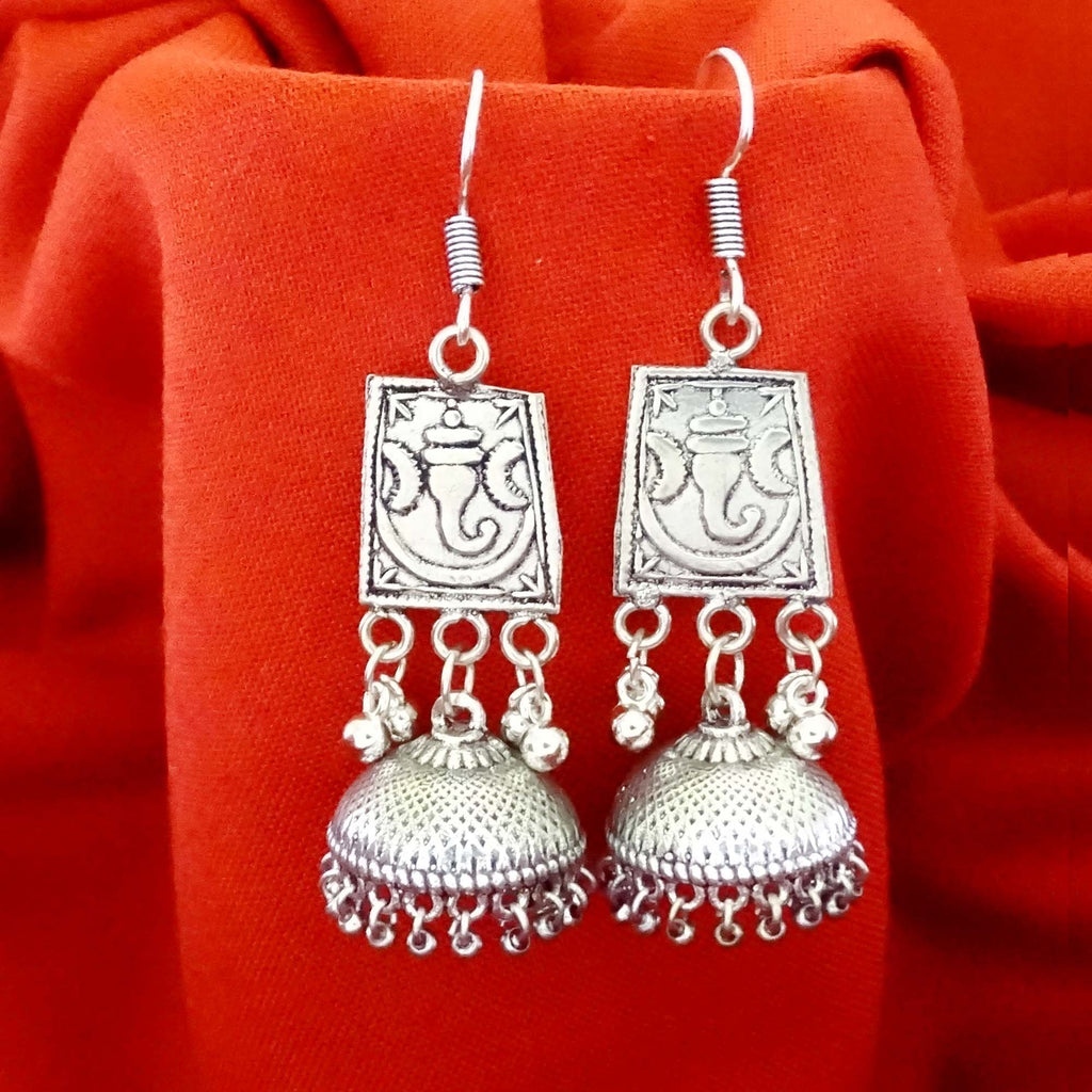 Oxidized Silver Ganesha Jhumka Earrings