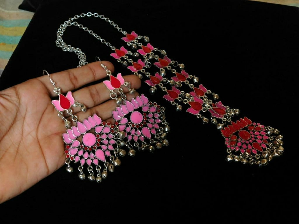 Red & Pink Color Handcrafted Afghani Necklace Set With Ghungroo Droppings