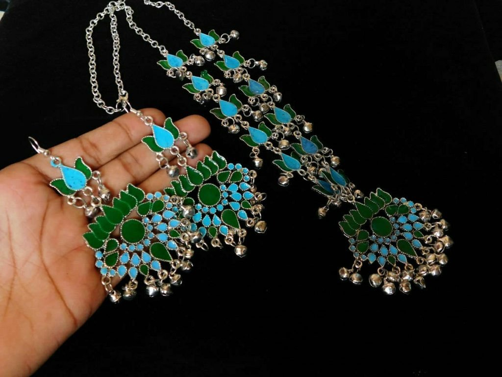 Blue & Green Color Handcrafted Afghani Necklace Set With Ghungroo Droppings