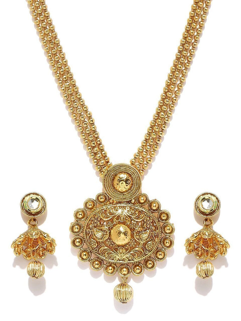 Zaveri Pearls Antique Gold Haram Necklace Set