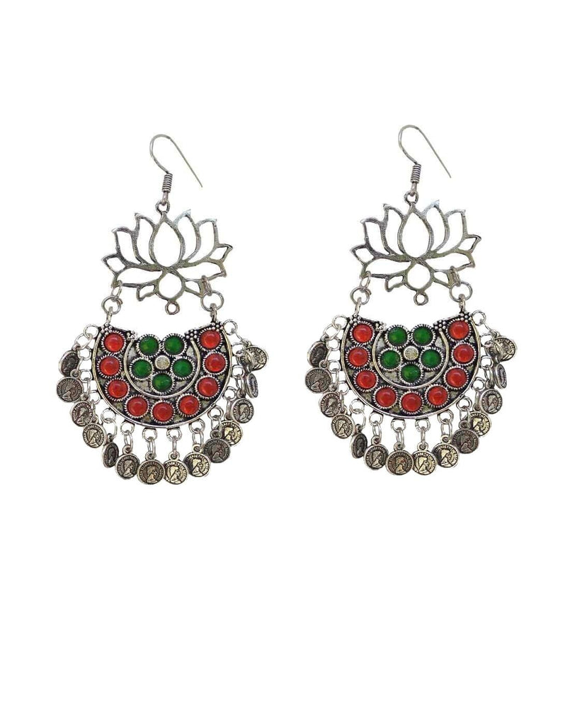 Afghani Earrings/Chandbalis In Alloy Metal- Lotus Pattern 10