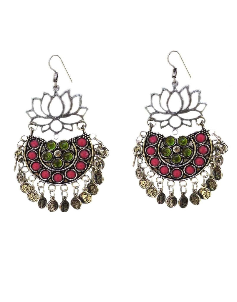 Afghani Earrings/Chandbalis In Alloy Metal- Lotus Pattern 4