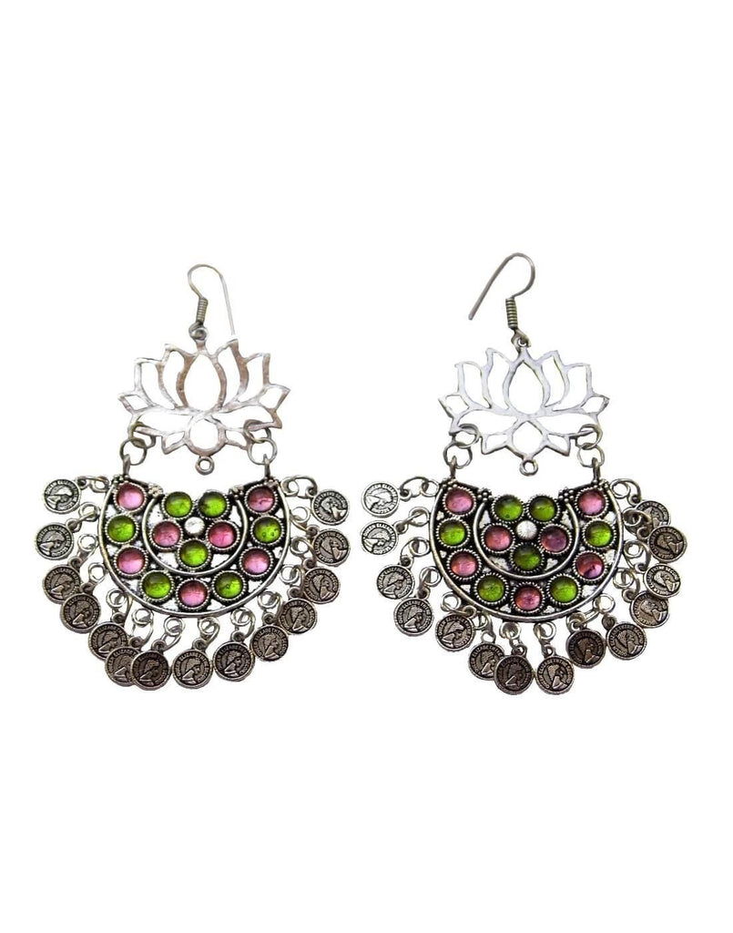 Afghani Earrings/Chandbalis In Alloy Metal- Lotus Pattern 11