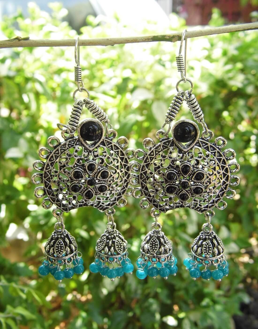 Oxidized Metal Earrings With Twin Jhumkis-Black&Turquoise Stone