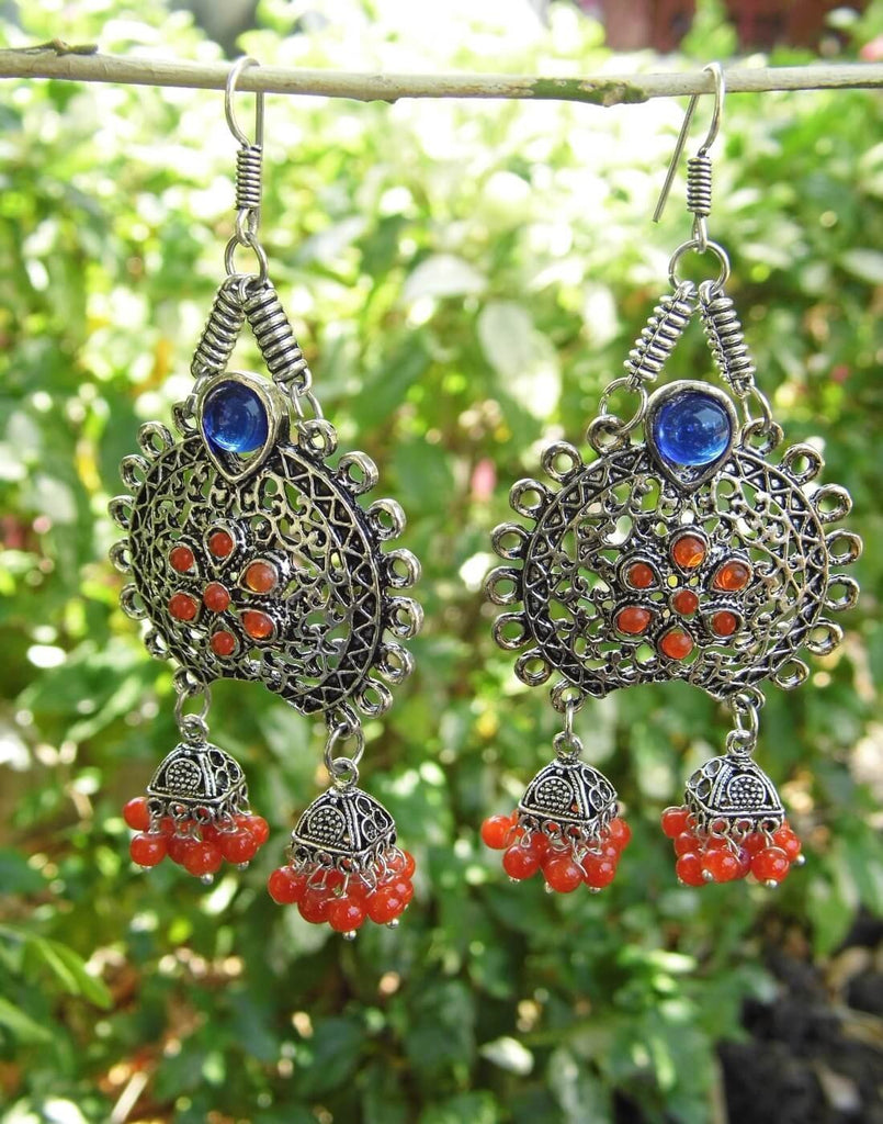 Oxidized Metal Earrings With Twin Jhumkis- Orange&Blue Stone