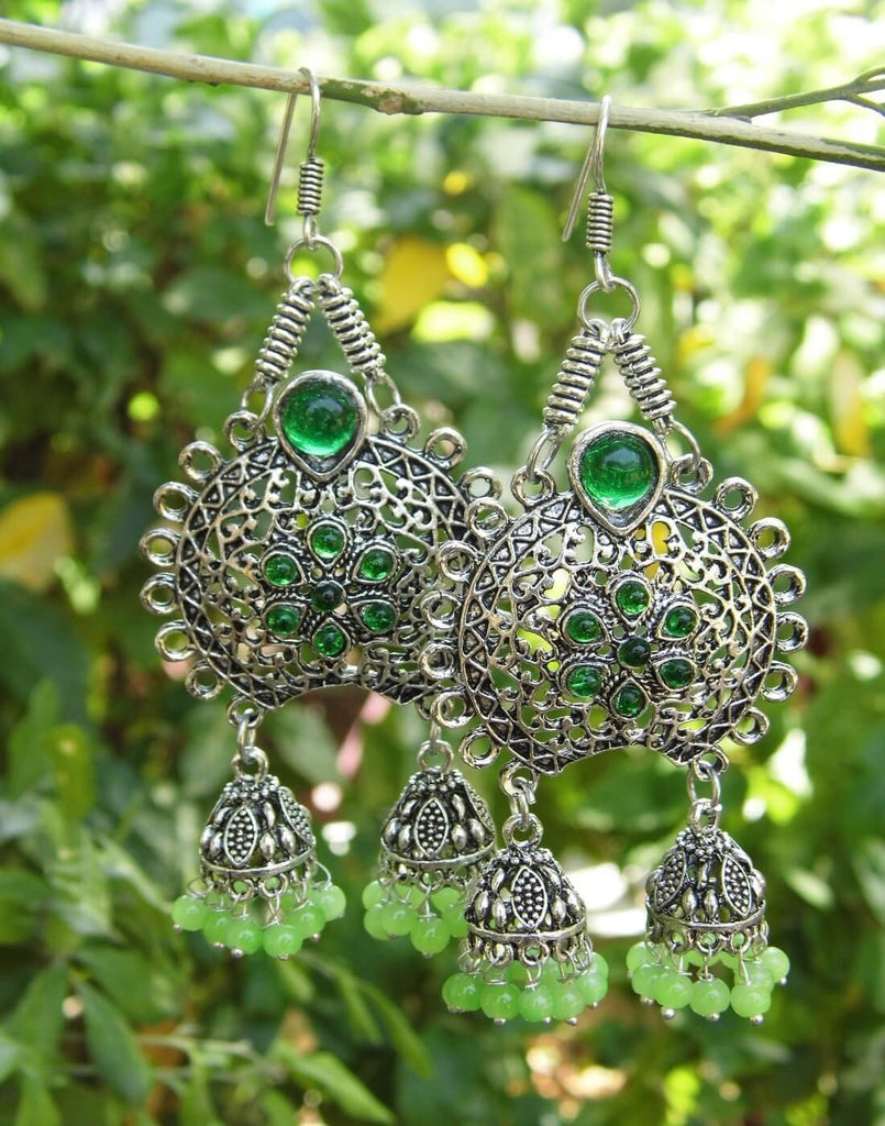 Oxidized Metal Earrings With Twin Jhumkis- Green Stone