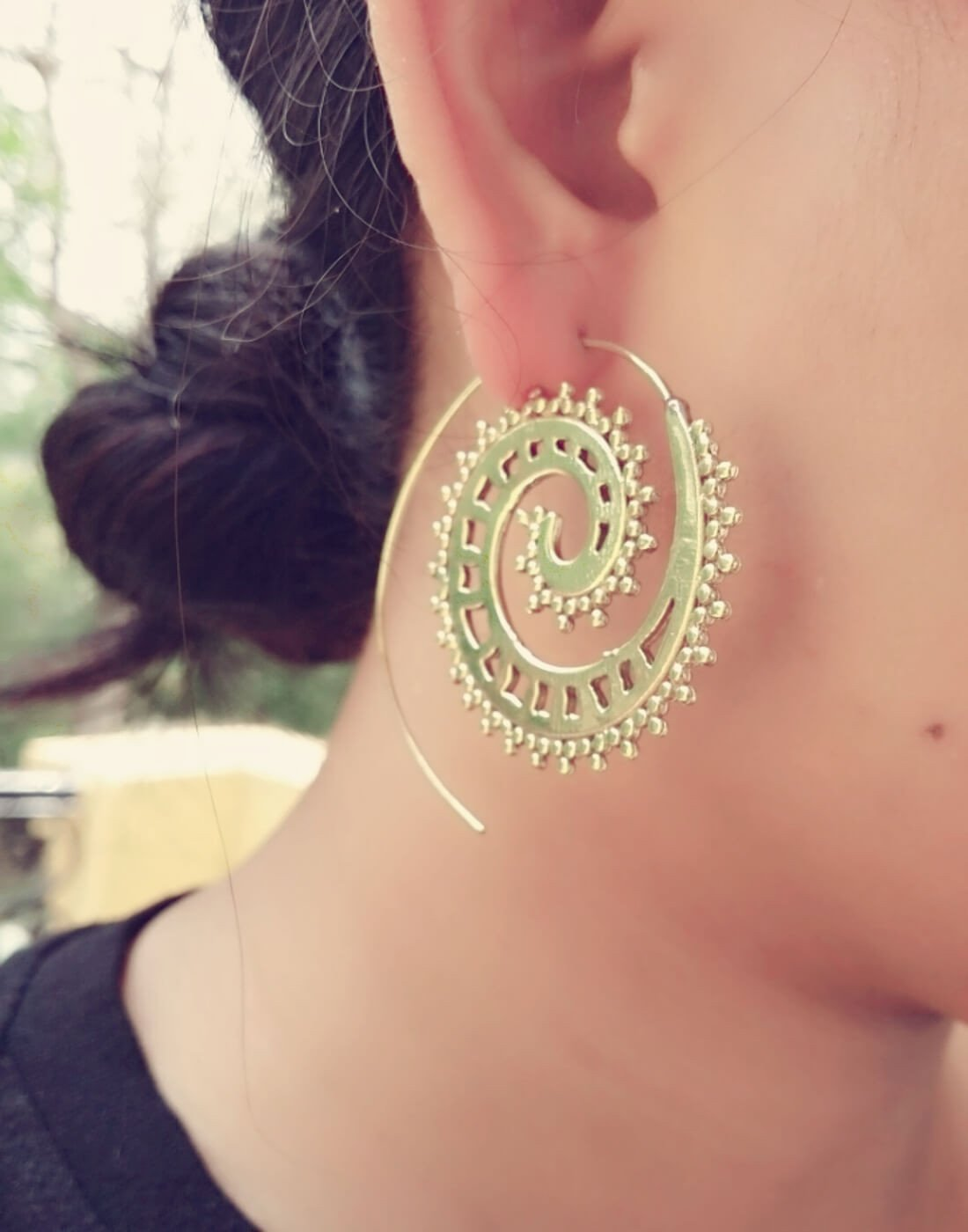 Spiral Brass Earrings 2