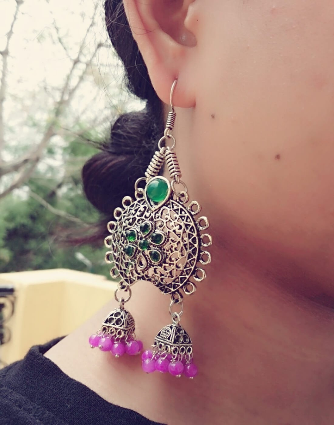 Oxidized Metal Earrings With Twin Jhumkis- Purple&Green Stone