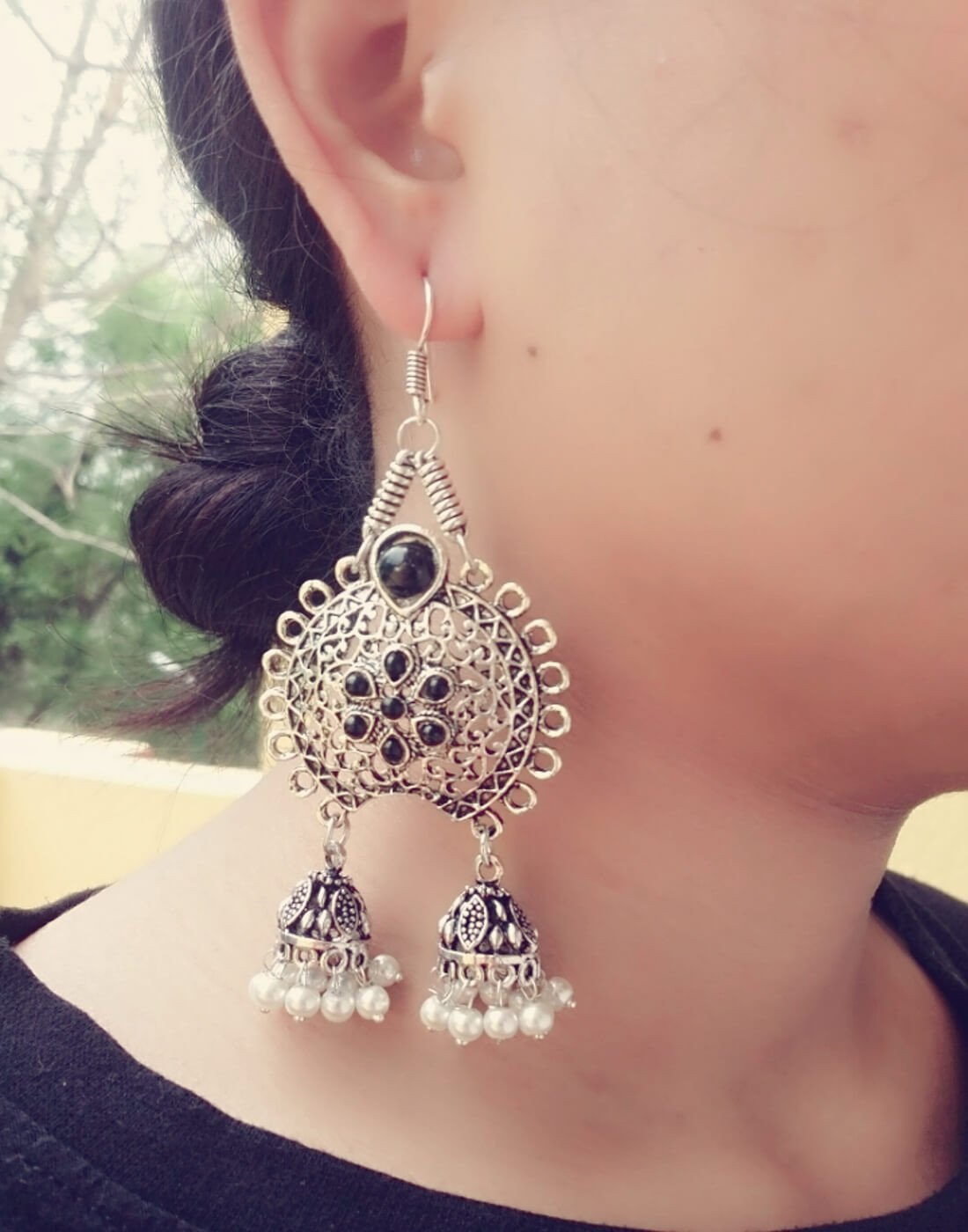 Oxidized Metal Earrings With Twin Jhumkis- Black&White Stone