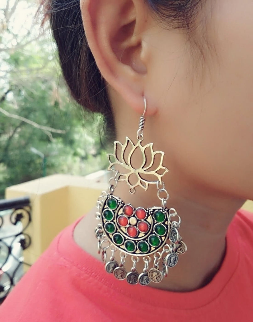 Afghani Earrings/Chandbalis In Alloy Metal- Lotus Pattern 17