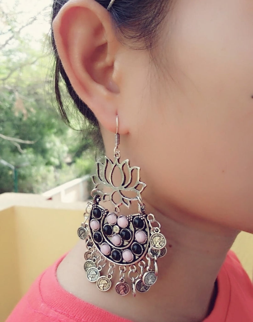 Afghani Earrings/Chandbalis In Alloy Metal- Lotus Pattern 9